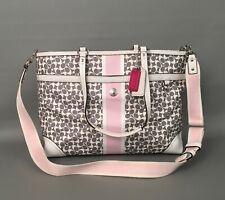 COACH Chelsea Heritage Stripe PVC-Leather DIAPER BAG Large Handbag-Tote #F15134