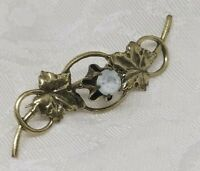 Antique Brass Brooch Pin Victorian Edwardian Mourning Jewelry Paste Stone Leaves