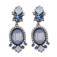 Boucles d`Oreilles Clous Doré Geometrique Art Deco Bleu Pale Opale Vintage  XX19