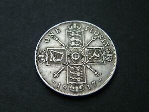 1917 George V 5th Silver Florin Coin