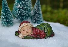 Miniature FAIRY GARDEN ~  Winter CHRISTMAS Sleeping Baby Figurine in Holly Leaf