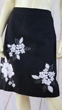 Ann Taylor Loft Skirt 6 Black Linen Rayon Lined Back Zip Slit White Floral Chic