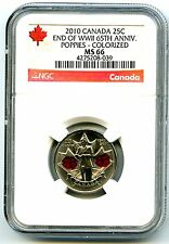 2010 CANADA 25 CENT NGC MS66 POPPY QUARTER COLORIZED WWII 65TH ANNIVERSARY RARE
