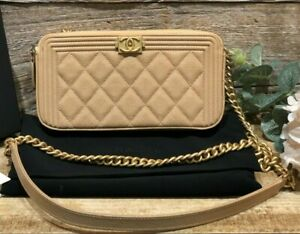 AUTH CHANEL BOY BEIGE CAVIAR WALLET ON CHAIN WOC CLUTCH BAG GOLD HW QUILTED NEW