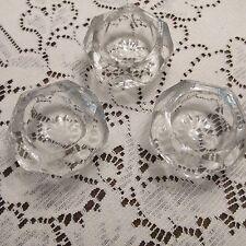 Vintage Cut Glass Salt Cellars; 4; diamond pattern