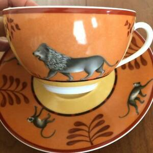 Hermes Morning Soup Cup Saucer Africa Orange Animal Tableware New Unused Rare