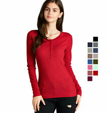Women's Thermal Long Sleeve Henley Top Basic T-Shirt Warm Half Button Up