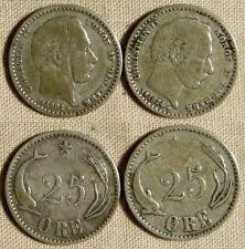 Denmark : Lot 2 Coins 25 Ore 1874(h) VF + 1891(h)CS (F-)  KM# 796.1   IR171