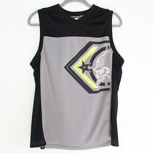 METAL MULISHA Gray and Black Mesh Tank Top Sleeveless Jersey - Men's Size Medium