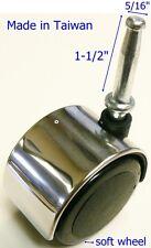 "Oajen 2"" 50mm chrome caster soft wheel, set of 4, socket stem, grip neck stem,"