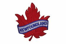 NEWFOUNDLAND RED MAPLE LEAF IRON-ON PATCH CREST BADGE.SIZE:2.5 X 2.5 IN.