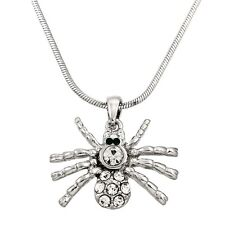 "Black Widow Spider Charm Pendant Necklace - Sparkling Crystal - 17"" Chain"