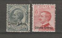 S36286 Eritrea 1918/20 MNH Definitives Soprast. 15c +60c Saxon 47/48 2v