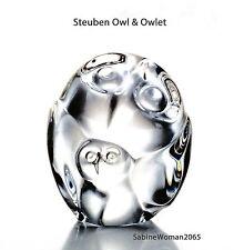 NEW in BOX STEUBEN glass OWL & OWLET crystal ornament paperweight heart bird