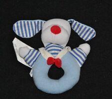 Peluche doudou chien marin JACADI blanc bleu rayé rouge grelot 12 cm TTBE