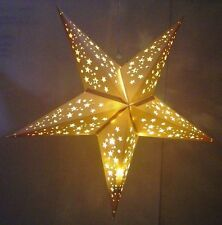 White Star Hanging Party Lanterns Including Warm LED Battery Lights LARGE 60cm