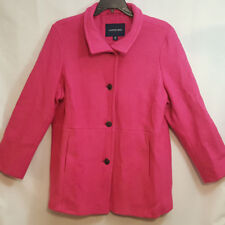 NEW Lands End Wool Blend Coat Boucle Boiled Wool Bright Pink Sz 18W