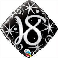 "Foil 18"" 18th Birthday Elegant Sparkle & Swirls BIRTHDAY PARTY SUPPLIES"