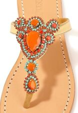 MYSTIQUE Sz 9 Jeweled LEATHER Thong Sandals Flip Flops Turquoise Coral Gold NIB
