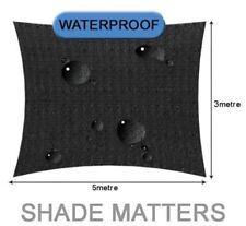 New Waterproof Shade Sail- Rectangle 3m x5m Black Color