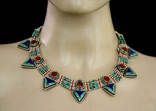 Asian Handmade Tibetan  Sterling silver Necklace Turquoise Tribal Jewelry  PP1