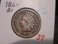 1864 INDIAN HEAD CENT F + VF NICE BETTER DATE COIN COMBINED SHIPPING