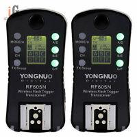 2x YONGNUO RF-605 RF605N Wireless Flash Trigger for Nikon D7100 D7000 D5100 D500