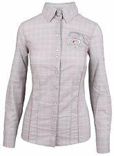 L' ARGENTINA Damen Bluse Shirt Langarm Größe 38 M Baumwolle & Elasthan Kariert