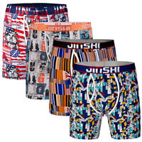 4 Pairs Mens Boxer Shorts Bamboo Sports Long Leg Trunks Briefs Adults Underwear