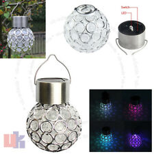 7 Color Changing LED Solar Garden Hanging Light Crackle Glass Lantern Ball UKED
