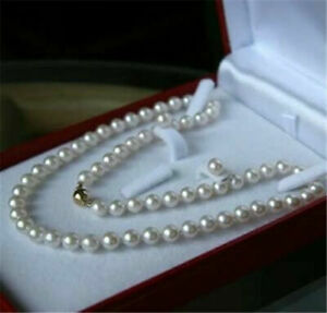 """AAAA Latest Japan 7mm AA+ White Akoya Cultured Round Pearl Necklace Earring 18"""""""