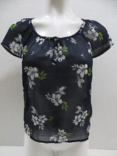 Hollister top XS floral bird hibiscus peasant boho festival summer