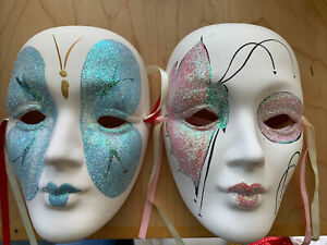 """2 large Ceramic hand painted Face Mask 7"""""""