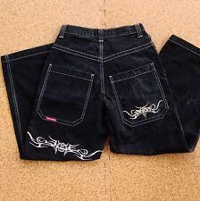 VTG 90s JNCO Black Jeans 30 x 30 Tribal Wide Leg Devil Denim Rave Punk Skate