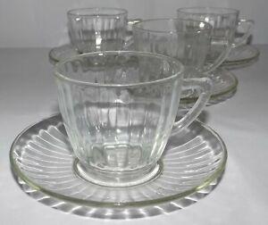 Clear Depression Glass Tea Cups & Saucers Set of Four - Antique c.1920's