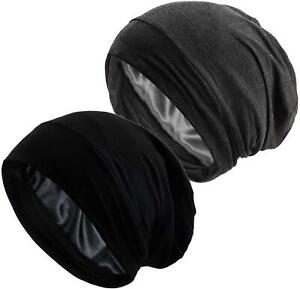 Satin Lined Sleep Cap Womens Adjustable Silk Lined Slouchy Beanie Hat 2-Pack NEW