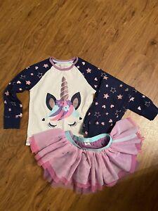 Girls Unicorn Pyjamas With Tutu Skirt Age 4/5 Years