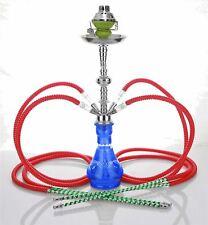 "4 hose 23"" Mabrook Blue Hookah Shisha Nargila water glass vase pipes smoke sale"