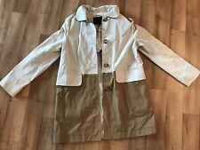 Coach Coat Color Block Stone Khaki Mod Trench Jacket w/Removable Hood Size M