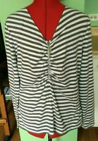 MICHAEL KORS BLOUSE TOP RUCHED WOMENS Size XL XLARGE GRAY WHITE STRIPED V