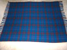 "Vintage Pendleton Wool Blanket Throw w/ Fringe Teal Blue & Berry Plaid 54"" x 80"""