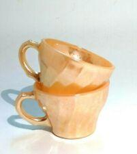 2 Vintage Carnival Glass Orange Marigold Iridescent Coffee / Tea Cups USA ANCHOR