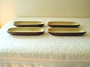 "Vintage Set Of 4 Ceramic Brown & Cream Color Corn On The Cob Holders "" BEAUTIFUL"