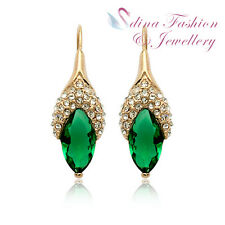 18K Rose Gold GP Made With Swarovski Crystal Flower Bud Emerald Dangle Earrings