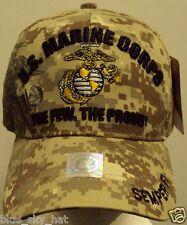 LICENSED MARPAT DESERT U.S. MARINE CORPS USMC FEW PROUD SEMPER FI CAP HAT COVER