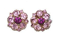 Beautiful Pin Tourmaline & Amethyst Swarovski Crystals Clip Earrings