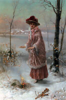 Oil painting beautiful young woman in winter landscape forest with Bonfire