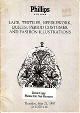 Phillips NY Lace Textiles Period Costumes Fashion Illustrations May 21 1987