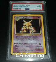PSA 9 MINT Alakazam 1/102 Base Set HOLO RARE Pokemon Card