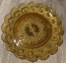 Striking Vintage Amber Depression Glass Serving Plate